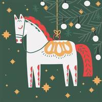 ornamento dell'albero di Natale del cavallo disegnato a mano retrò vettore