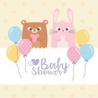 piccolo orso e coniglio per baby shower card vettore