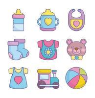 collezione di icone di baby shower carino vettore