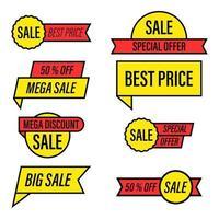 set di tag di vendita di offerta speciale giallo e rosso vettore