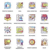 set di icone piane di strategia di marketing vettore