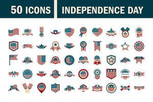 set di icone di colore del giorno dell'indipendenza degli Stati Uniti vettore
