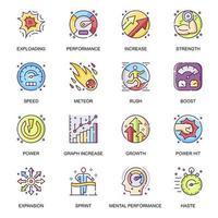 set di icone piane di prestazioni mentali vettore