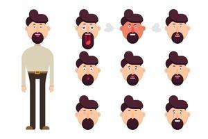 personaggio maschile con diverse emozioni del viso impostate vettore