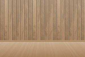 stanza di legno vuota realistica con pavimento in legno vettore