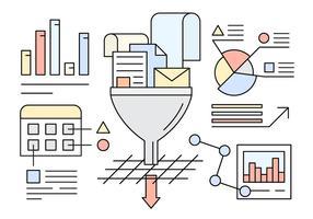 Illustrazione vettoriale Informazioni su filtro e flusso dei dati