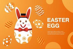 banner di Pasqua con uovo che indossa cappello a cilindro e farfallino vettore