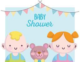 baby shower card con simpatici personaggi piccoli vettore