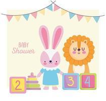 baby shower card con simpatici animaletti vettore