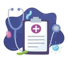 stetoscopio e appunti medici con virus e batteri