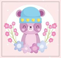 simpatico orso che indossa un cappello con decorazioni floreali