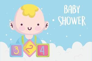 carta di baby shower con ragazzino carino vettore