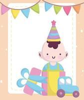 baby shower card con un ragazzo carino e giocattoli
