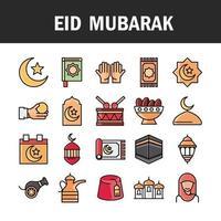 eid mubarak celebrazione islamica icon set vettore