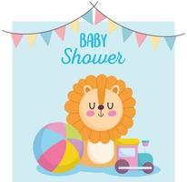 baby shower card con grazioso piccolo leone vettore