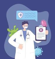 medico con maschera facciale e risultati dei test del coronavirus