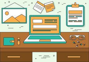 Illustrazione del desktop di vettore Design piatto gratuito
