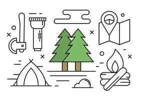 Elementi di campeggio e natura lineare gratuiti vettore