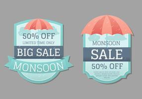 Badge Monsoon o collezione di etichette vettore
