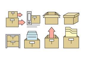 Icone di scatola di ufficio lineare