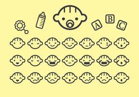 Vari vettori di icona di faccia del bambino