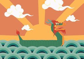 Vettore del manifesto della barca del drago