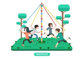 I bambini giocano a Maypole Vector Illustration