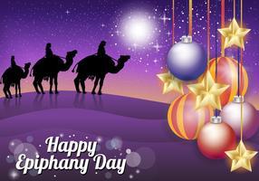 Giorno dell'Epifania con tre re nel dessert vettore
