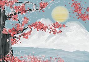 sakura nell'illustrazione dell'acquerello vettore