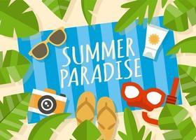 Illustrazione di vacanza spiaggia estiva gratis vettore