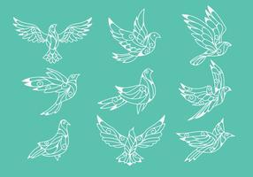 Vettori di stile taglio carta simboli pace o colomba