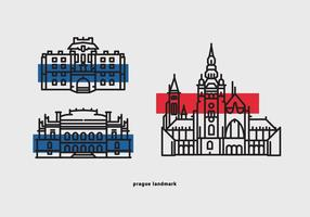 Pacchetto dell'icona di vettore del punto di riferimento di Praga