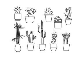 Vettore di illustrazione linea floreale gratuito