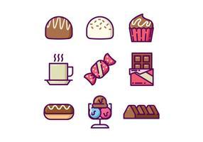 Set di icone di cioccolatini dolci vettore