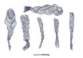 Vettore di trecce di capelli disegnati a mano