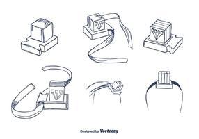 vettore di tefillin disegnato a mano