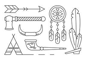 Elementi di vettore nativo americano lineare
