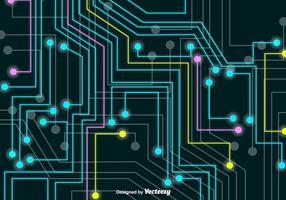 Bordo di circuiti tecnologici al neon vettoriale