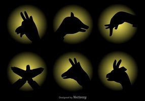 Set di marionette ombra vettoriale