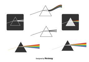 Vettore di prismi e raggi di luce