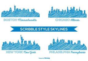 set di skyline stile scarabocchio vettore