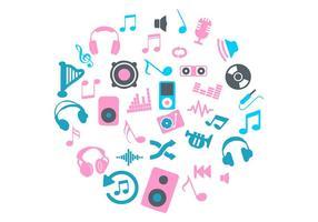 Vettore delle icone di musica del cerchio rosa e blu
