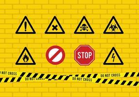 Nastro di pericolo e segno vettoriali gratis