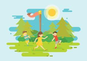Ragazza libera e amico che ballano intorno all'illustrazione del palo di maggio vettore