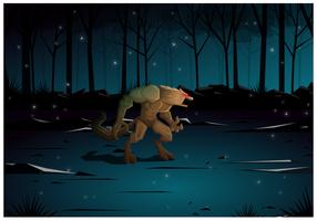 Illustrazione vettoriale di lupo mannaro