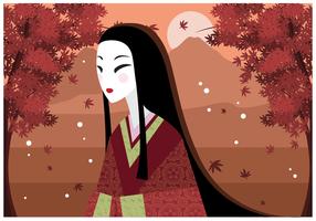 Illustrazione vettoriale di donna giapponese gratis