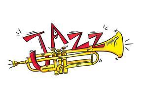 Stile dell'acquerello di strumento musicale tromba d'oro vettore