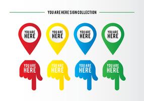 Sei qui Sign Collection vettore