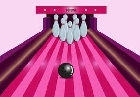 Vettore di corsia di bowling rosa brillante