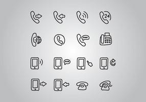 Set di icone del telefono scarabocchiato vettore